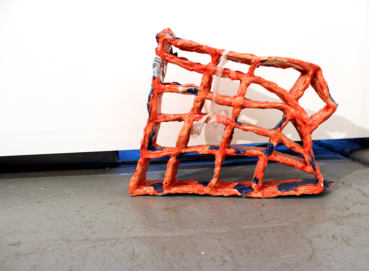 DENISE TREIZMAN: Melting Grid (aftermath), 2015, ceramic, model magic clay, duct tape and plastic, 16 x 22 x 4 inches