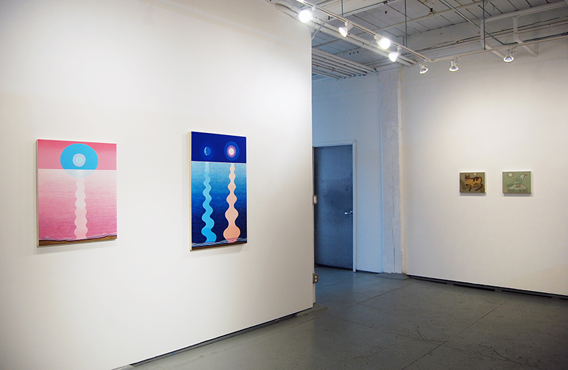 "MATTHEW F. FISHER: The Rose of Nowhere, 2015, Acrylic on canvas, 28"" x 22"" (left), Night and Day, 2016, Acrylic on canvas, 40"" x 25"" (right); John Dilg (far right)"