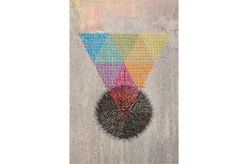 "JONATHAN COWAN: Triangles Collapsing into a Void, 2015, Solvent transfer and cotton thread on canvas, 13"" x 10"" (detail)"