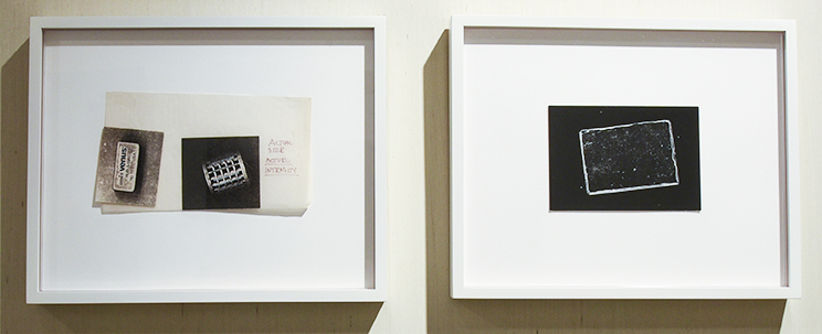 PATI HILL: Untitled (eraser and hair curler); from the series First Pictures, 1974 Ink and copier prints mounted on tissue and Pocket Mirror (from the series Photocopied Objects), 1975 Offset postcard