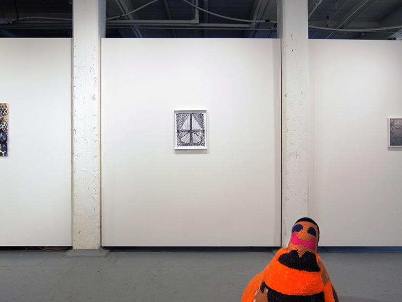 """JULIA BLAND: Untitled, linen, ink, oil paint, 14"""" x 16"""" 2015, CAROLINE WELLS CHANDLER, eric, 3' x 3' x 3,' hand crocheted assorted wool, polyfill, 2014"""
