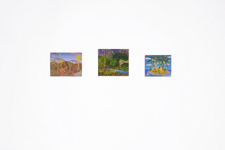 AMY LINCOLN: from left to right, Desert Study, 2013, Jungle with Zebras Study, 2013, Bird Island Study, 2012