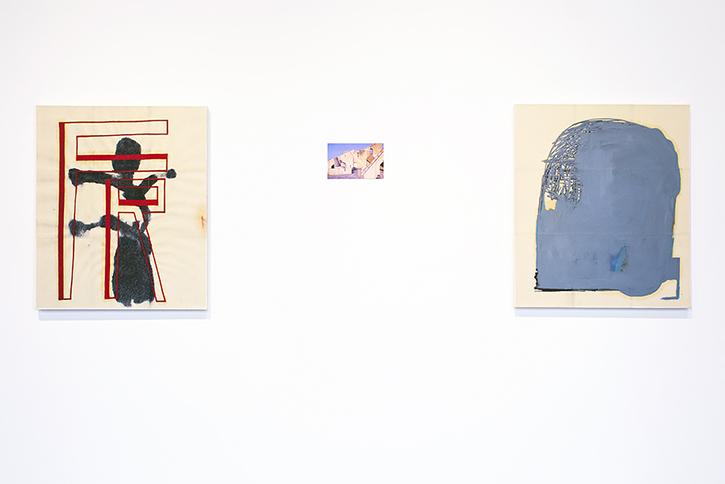 EJ HAUSER: FR (red), 2014. Julio Cortàzar image courtesy of © The Estate of Julio Cortàzar, 2014. EJ HAUSER: head (dk gray), 2013