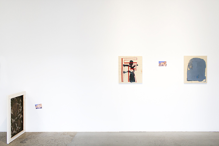 LUC FULLER: Untitled (Clock Painting), 2014. Julio Cortàzar image courtesy of © The Estate of Julio Cortàzar, 2014. EJ HAUSER: FR (red), 2014. EJ HAUSER: head (dk gray), 2013.