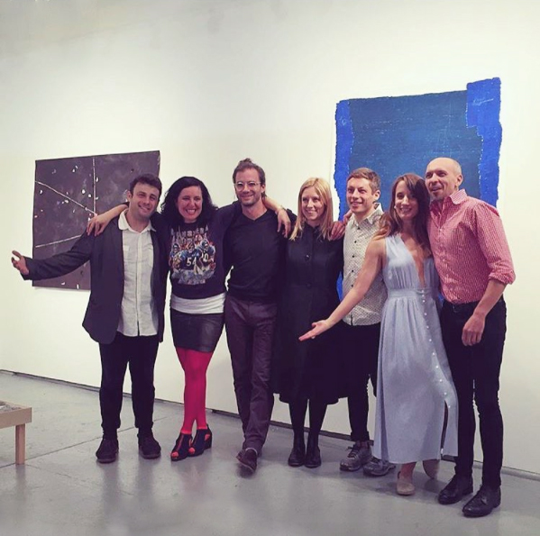 OyG Directors (from left to right ) Zahar Vaks, Leeza Meksin, Joshua Bienko, Eleanna Anagnos, Will Hutnick, Catherine Haggarty, and Eric Hibit (missing from photo Clare Britt, Sarah Rushford, Lauren Whearty) during the exhibition  Wish Me Good Luck.