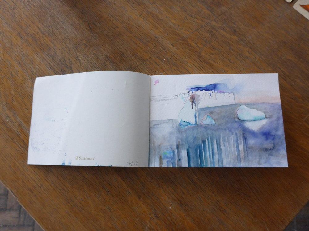 Annie Ewaskio, Watercolor on paper,Pyramiden Canteen, Svalbard, Norway, July 2016