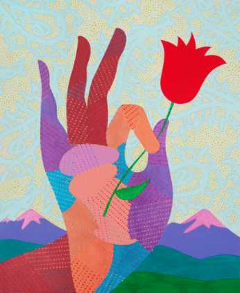 "Eric Hibit, Buddha Hand with Flower, 2015, acrylic on paper, 17 x 14"""