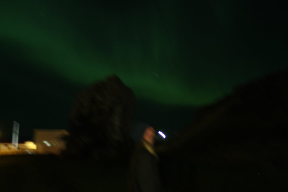 Max Razdow, Jesse, Troll Stone and The Northern Lights in Drangsnes, 2015, Digital photograph.