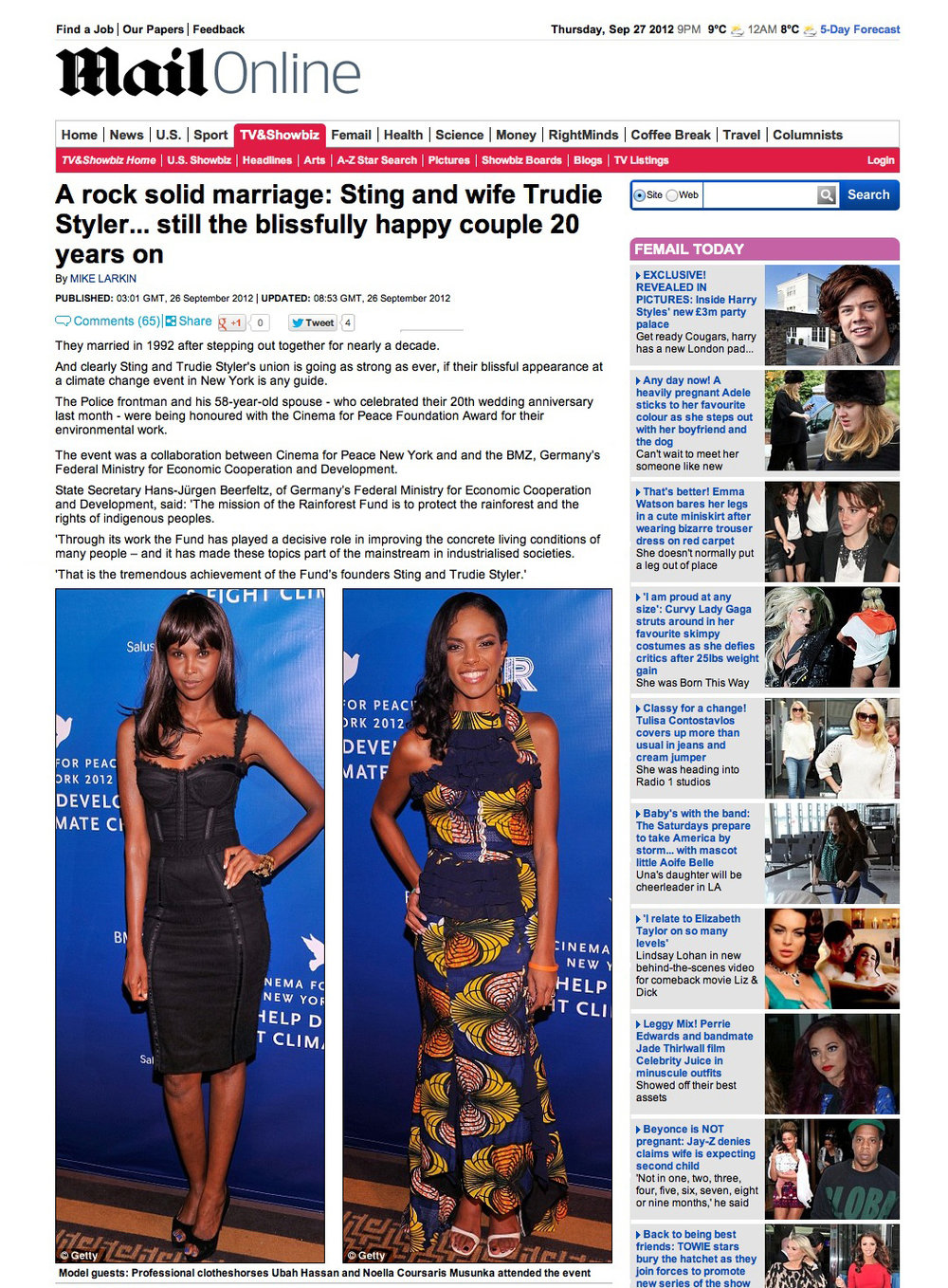 The Cinema for Peace Gala made the trans-atlantic press, as shown here in UK newspaper the Mail Online.