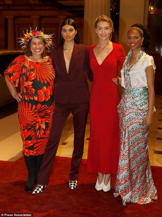 Artisan fashion designer Marama Papau, left, poses with models Neelam Gill, Arizona Muse and Noella Coursaris (Peter Nicholls/PA)