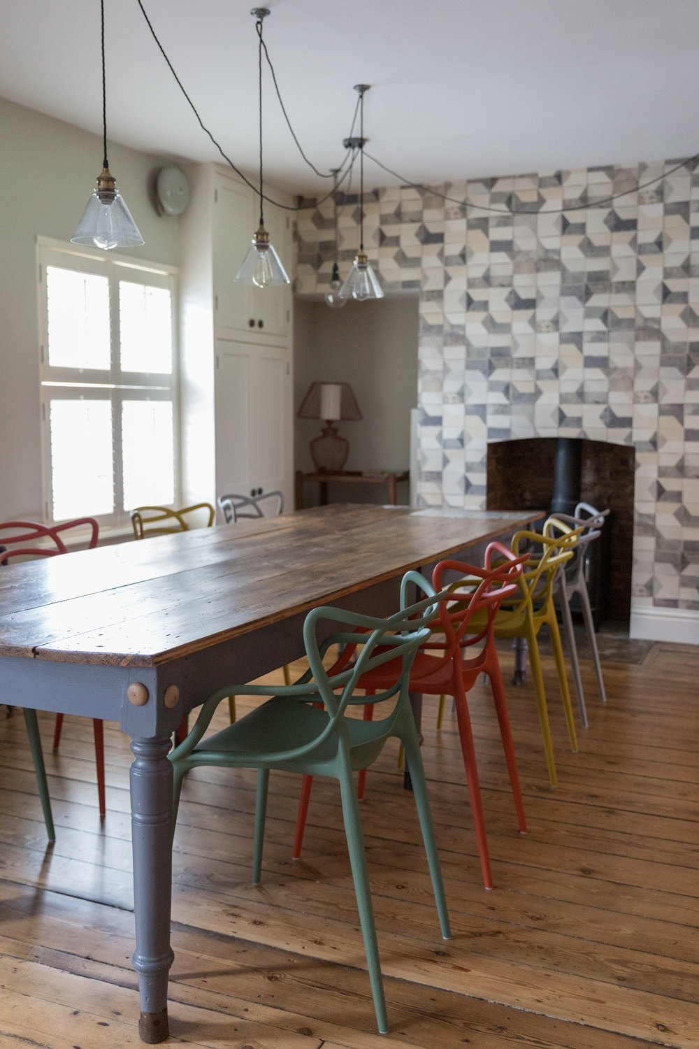 Industrial dining space with bespoke table