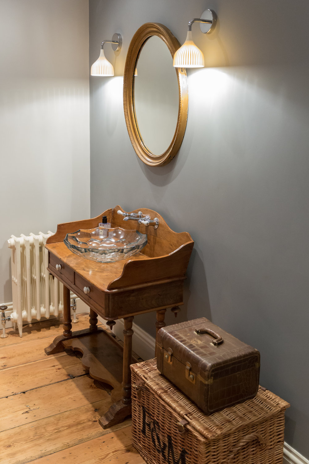 Period bathroom with antique washstand