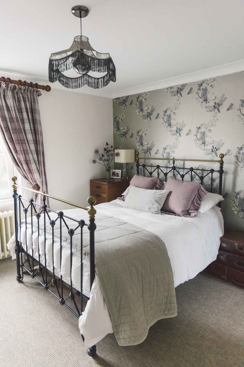 Barneby Gates wallpaper in a modern country guest bedroom