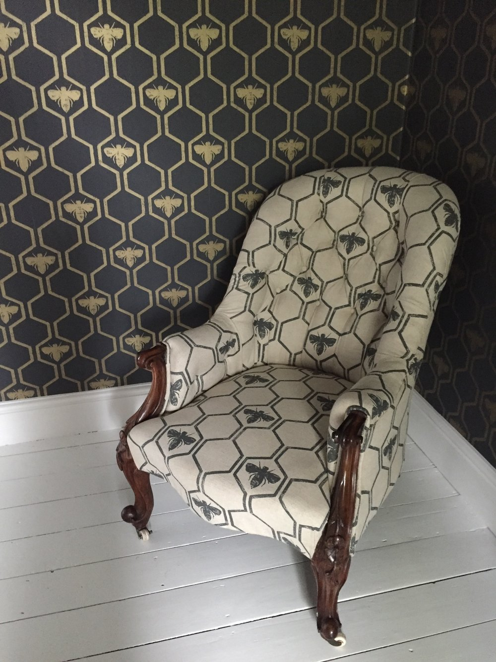 Reupholstered Victorian Button Backed Armchair