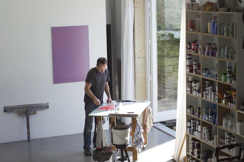 At work in his studio in Saint Romain