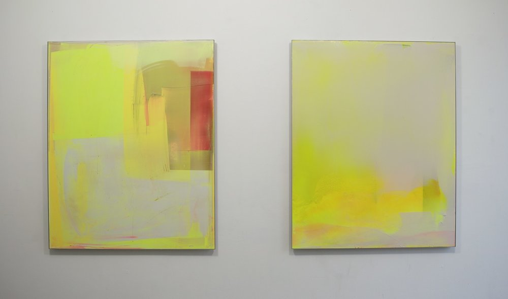 Yellow Compositions n°1 and n°2, each work 150x120cm, 2016/2017