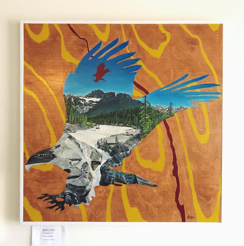 Title: The Landing, 3'x 3', Acrylic on wood