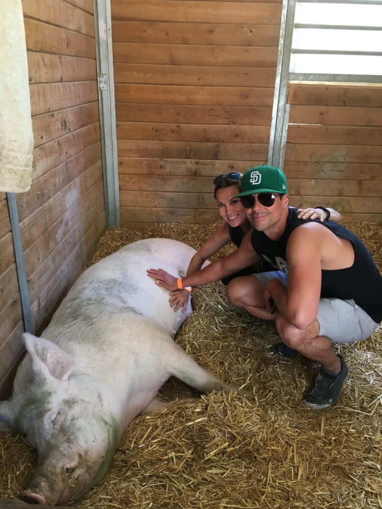 Last year on my birthday. Piggie belly rubs are the best.