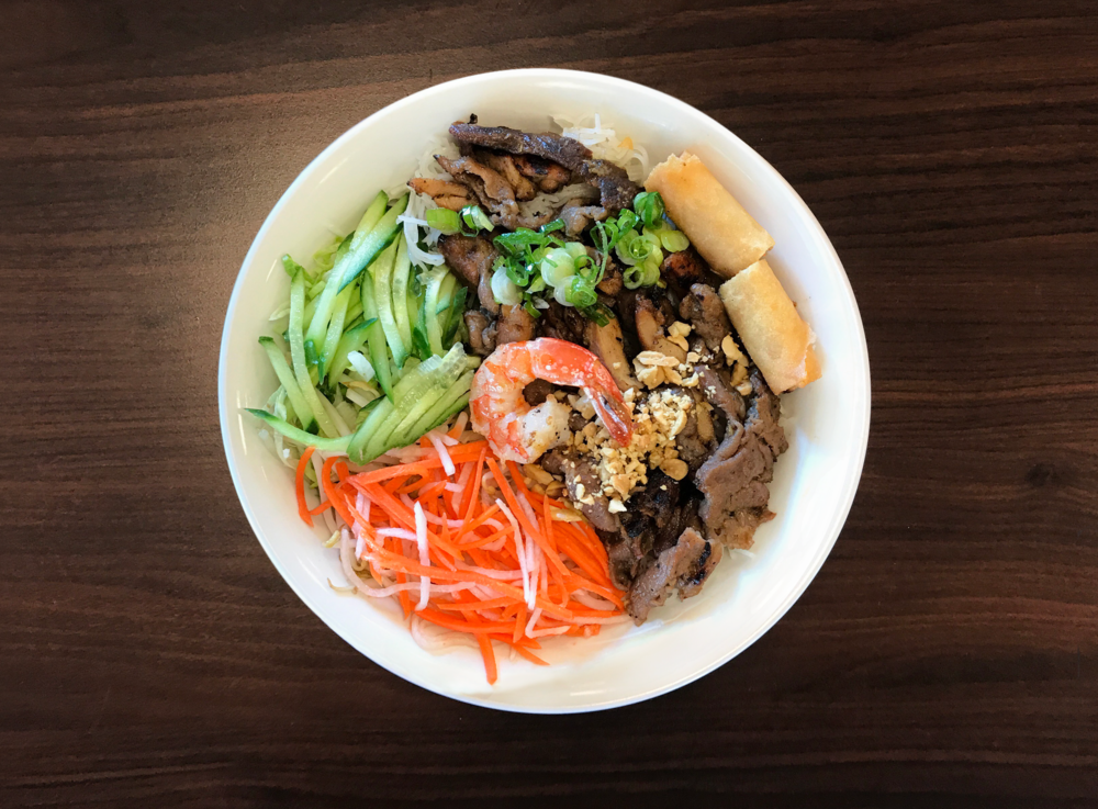 42. Bun 5 Mau  5 Colour Vermicelli Bowl with Beef, Pork, Chicken, Shrimp, and a Spring Roll