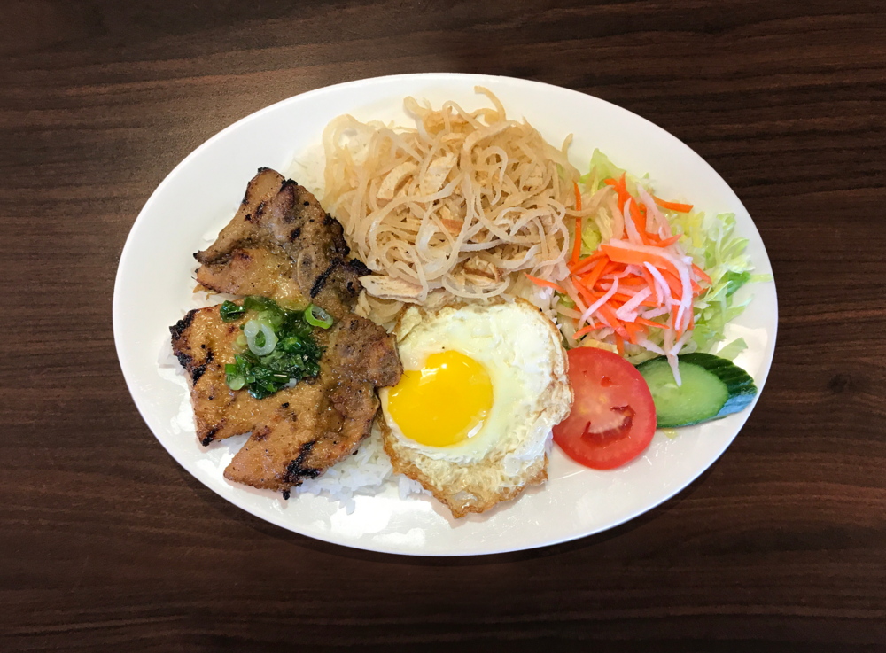 31. Com Suon Bi Trung  Pork Chop, Shredded Pork, and Fried Egg on Rice