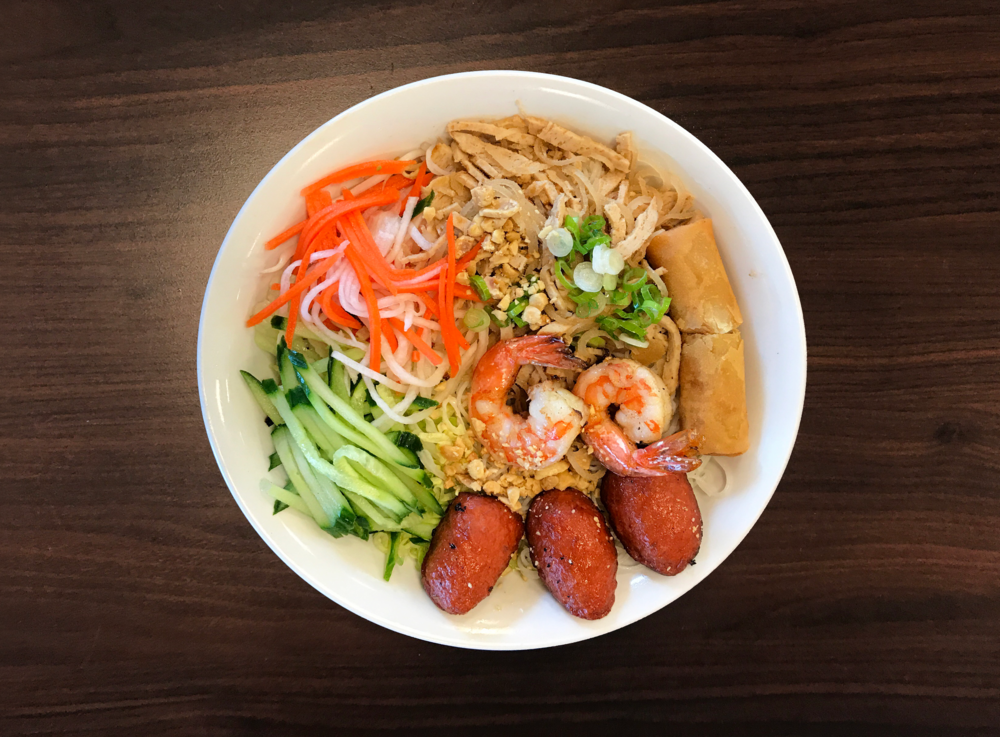 37. Bun Bi Tom Nem Nuong Cha Gio  Vietnamese Shredded Pork, Shrimp, Grilled Meatballs, & a Spring Roll with Vermicelli