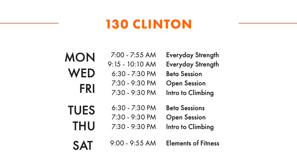 Clinton Adult W/S Schedule
