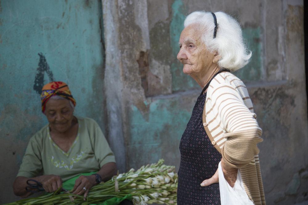 Flower seller in Havana, Cuba