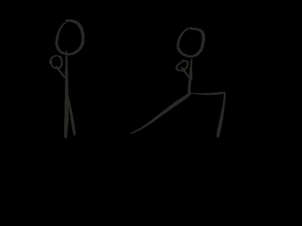 Stick figure diagram, standing lunge