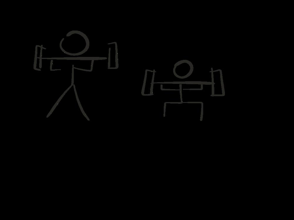 Stick figure diagram, barbell back squat