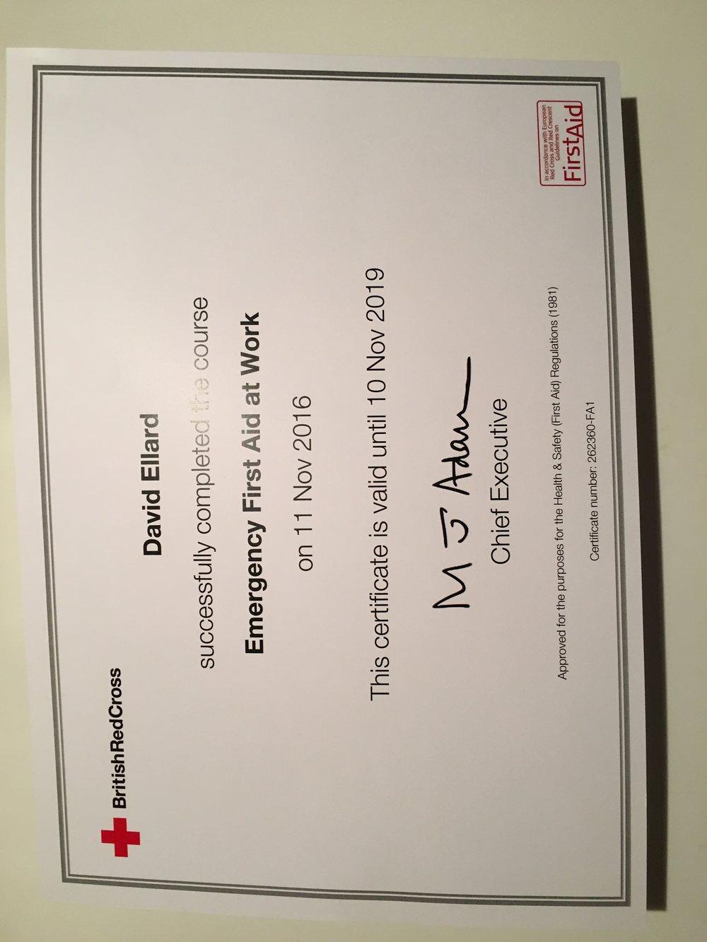David_Ellard_First_Aid_Certification