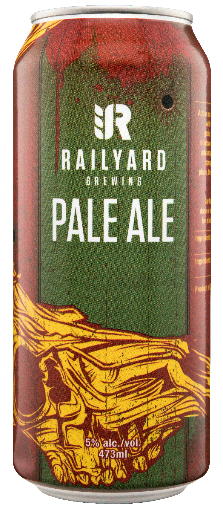 RAILYARD PALE ALE   A classic West-coast stop on the Railyard tracks with the unmistakable grapefruit and orange zest hop from both boil and dry hop additions, balanced with a caramel malt backbone and dried out perfectly to make sure you are getting on board for until the last stop.