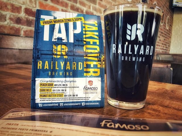 TAP TAKEOVER!!! **** Join Aaron our Sales Rep this Friday, March 22nd at Famoso McKenzie Towne for the Railyard Brewing TAP TAKEOVER!! *** We will be taking over 3 taps with some amazing local brews; • Peach Sour • Dark Mild • Peanut Butter Stout Event kicks off at 5:30pm with complimentary samples and some giveaways throughout the night! **** Come by for some fantastic food and a great time with a couple awesome local brews. • • • #railyardbrewingyyc