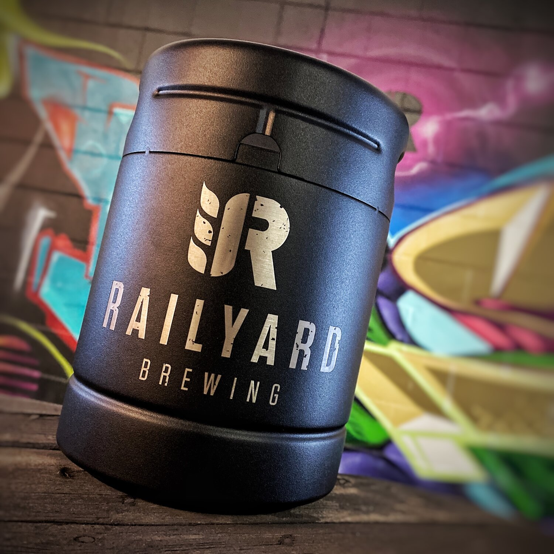 RAILYARD 64oz LIMITED BLACK STAINLESS STEEL GROWLER w/FILL  Railyard Brewing   Calgary Craft Brewery
