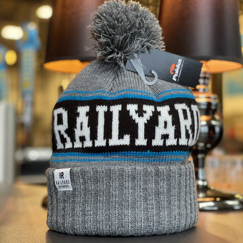 RAILYARD BREWING - PUKKA KNIT TOQUE (GREY/BLUE/BLACK)  Railyard Brewing   Calgary Craft Brewery