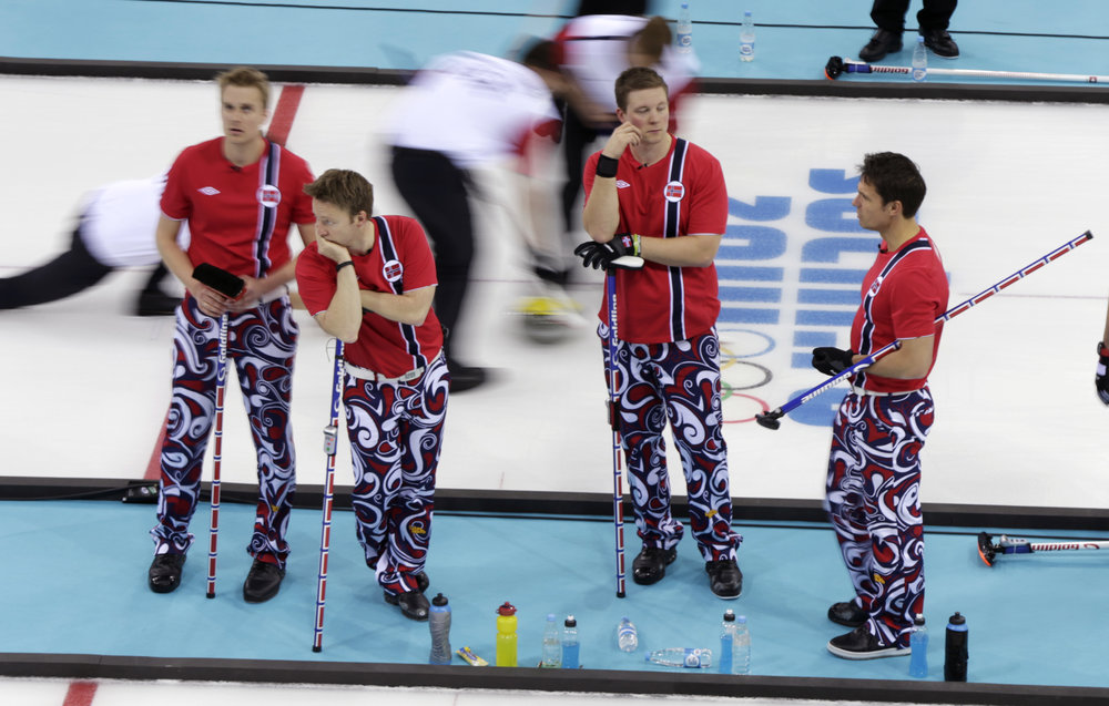 """Norwegian curling team brings back the crazy pants"" That is the title of the first article that popped up when I googled curling lunacy. I kid you not. Hi Kismet, nice to meet you!  https://www.google.com/amp/s/www.yahoo.com/amphtml/sports/blogs/olympics-fourth-place-medal/norway-s-curling-team-brings-back-the-crazy-pants-141045535.html"