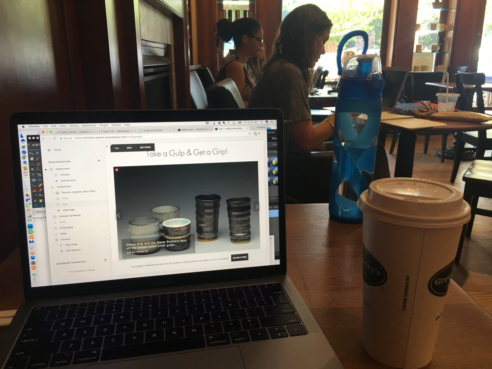 somehow it feels both wrong and hilarious to be working on my website/business that sells beverage containers while drinking my coffee out of a toss away cardboard cup. Life, you are a funny thing!