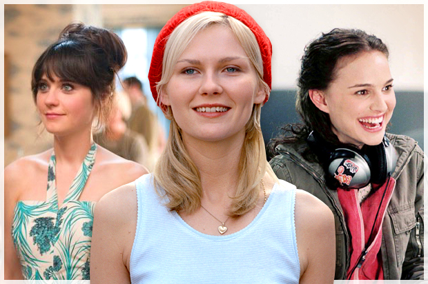 "Zooey Deschanel in ""(500) Days of Summer,"" Kirsten Dunst in ""Elizabethtown,"" Natalie Portman in ""Garden State"""