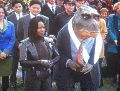 Theodore Rex and Whoopi at the Inauguration. Whoopi can't even pretend to be excited for her The Associate, Eddie and The Little Rascals co-star!