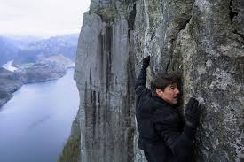 Get off that rock wall, Tom Cruise! You're gonna plummet to your death!