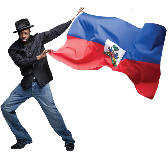 Surely a man who poses so jauntily with the Haitian flag could never rip off his own people!