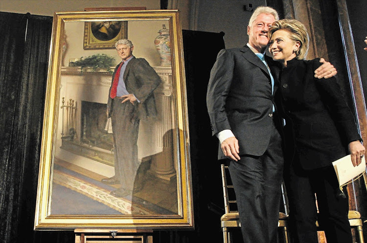 """Nothing says """"I'm not a crazed narcissist"""" quite like posing in front of a giant painting of yourself."""