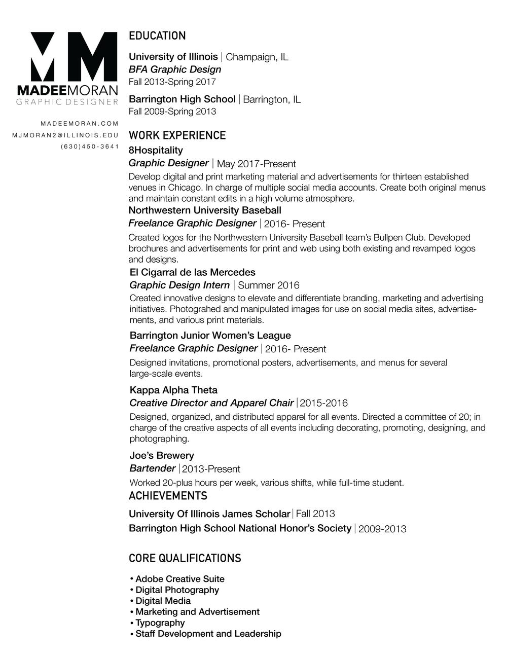 resume madee moran