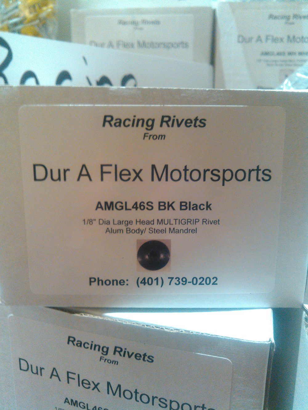 Dur-A-Flex is your one stop shop for Racing Rivets. We have many styles and colors in stock!      3/16 - Exploder (Tri-Fold) - White, Black, and Silver      3/16 - Regular - Black, White, Silver, Red, Blue, Yellow      1/8 - Regular - Black, White, Silver, Red