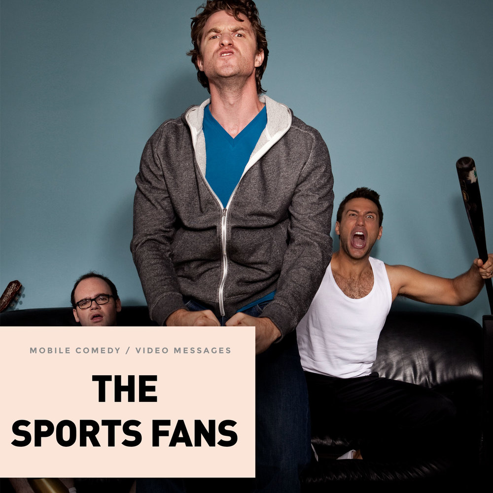 Sports fans video eGrunts, 90% non-verbal messages about sports by Max, Steve, and Todd. They don't warn dates that they can't face the bar's TV because they'll be distracted by the game. They just skip the dates. Don't be fooled by the latent homoeroticism in the room when the three of them are together.