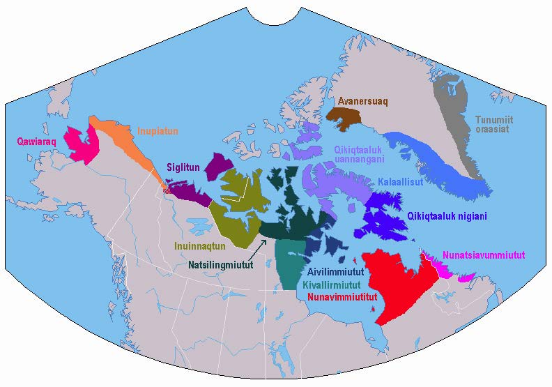 Regions of Canada in Which Various Inuktitut Dialects Are Spoken;  https://en.wikipedia.org/wiki/File:Inuktitut_dialect_map.png