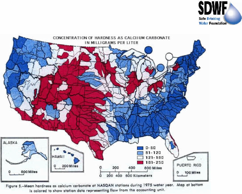 Map of total hardness in water across the United States. It is expected that the shown trends continue into Canada. Source:  https://water.usgs.gov/owq/map1.jpeg