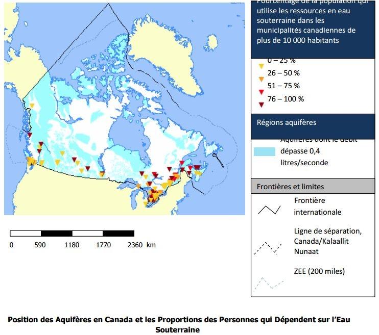 Position des Aquifères en Canada et les Proportions des Personnes qui Dépendent sur l'Eau Souterraine