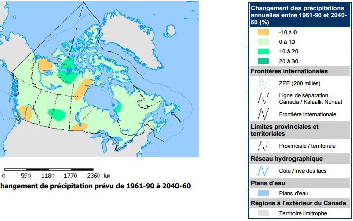 Changement de précipitation prévu de 1961-90 à 2040-60