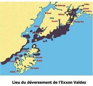 Lieu du déversement de l'Exxon Valdez