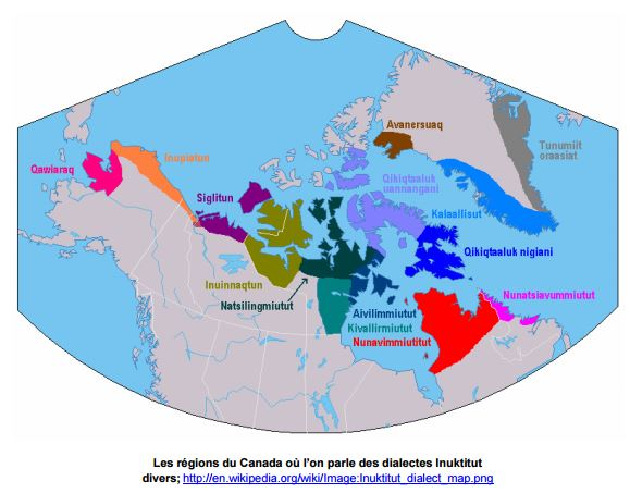 régions parles dialectes Inuktitut